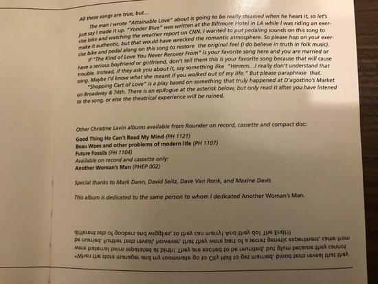 inside liner notes of