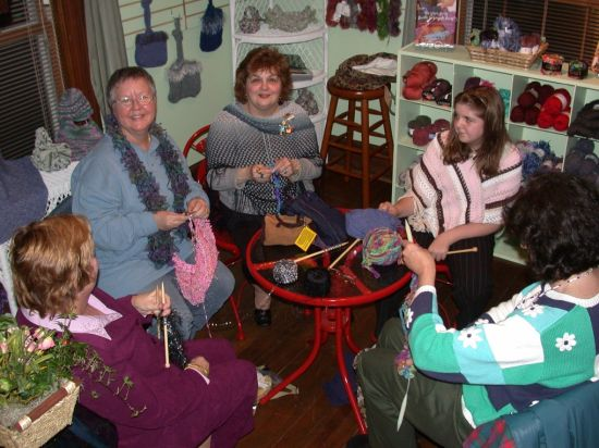 A knitting circle prior to the concert at the Tupelo Music Hall