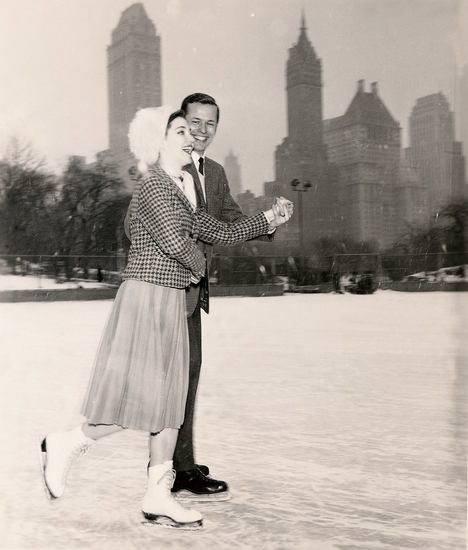 Ice skating in Wollman Rink, Central Park, circa 1950s