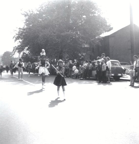 MARILYN POMART LEADING THE PEEKSKILL HIGH SCHOOL MARCHING BAND IN 1961