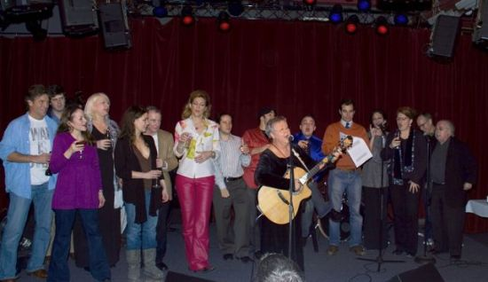 Onstage at JIM CARUSO'S CAST PARTY singing the KAY THOMPSON CLASSIC 'VIVA LA COMPAGNIE' TO THE STAFF AT BIRDLAND