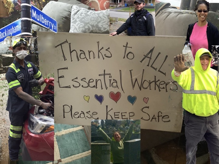 The people on Mulberry Street in Rochester NY thank all essential workers doing their jobs