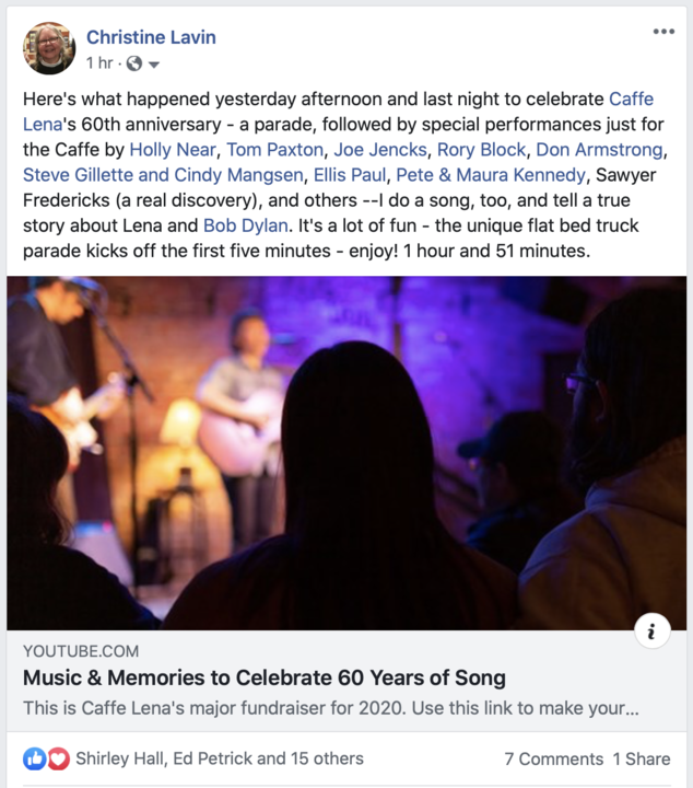 See Tom Paxton Loudon Wainwright Holly Near Joe Jencks Rory Block Don Armstrong Ellis Paul and others celebrate the Caffe Lena039s 60th anniversary
