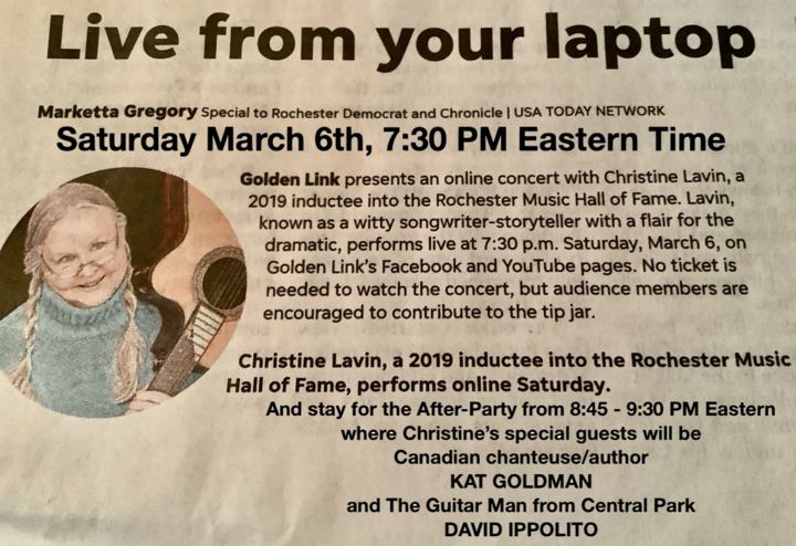 Saturday night at 730 PM Eastern solo concert for Golden Link of Rochester 845 After Party with my friends Kat Goldman amp David Ippolito