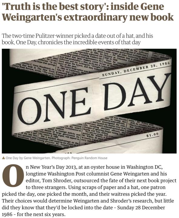 Gene Weingarten a twotime Pulitzer winner has written quite some book  here039s an excerpt