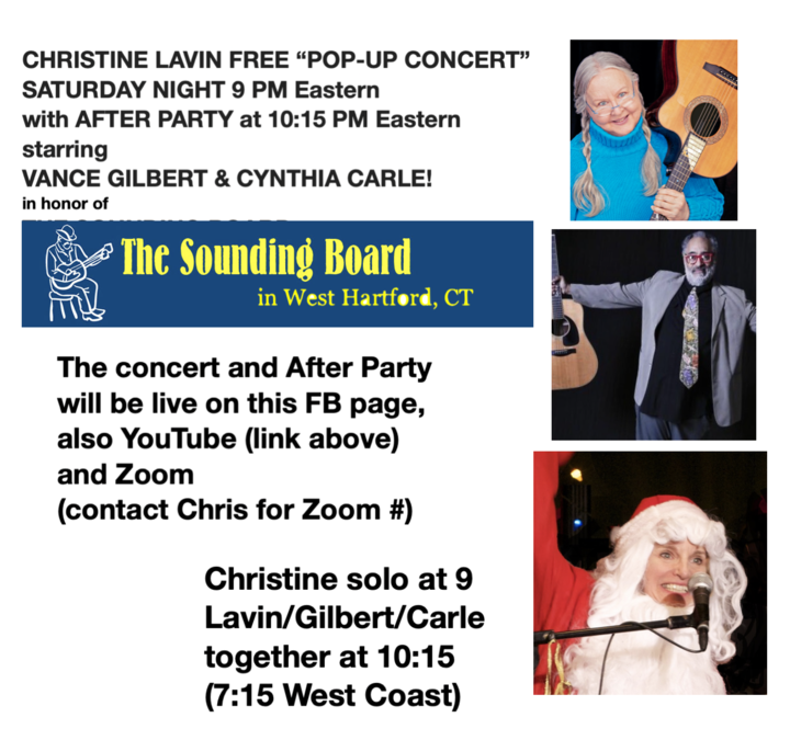 Popup concert at 9 PM Eastern After Party with Vance Gilbert and Cynthia Carle right after