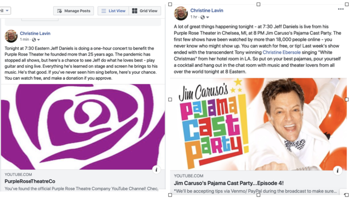 An embarrassment of riches  BOTH FREE  Jeff Daniels doing a 1 hour concert at 730 Jim Caruso039s Cast Party at 8  both videos available online after the live performance