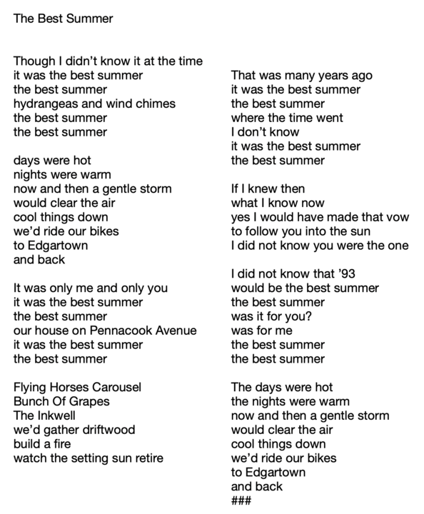 Columnist Jennifer Finney Boylan was inspired by the song to write about her best summer  what was yours