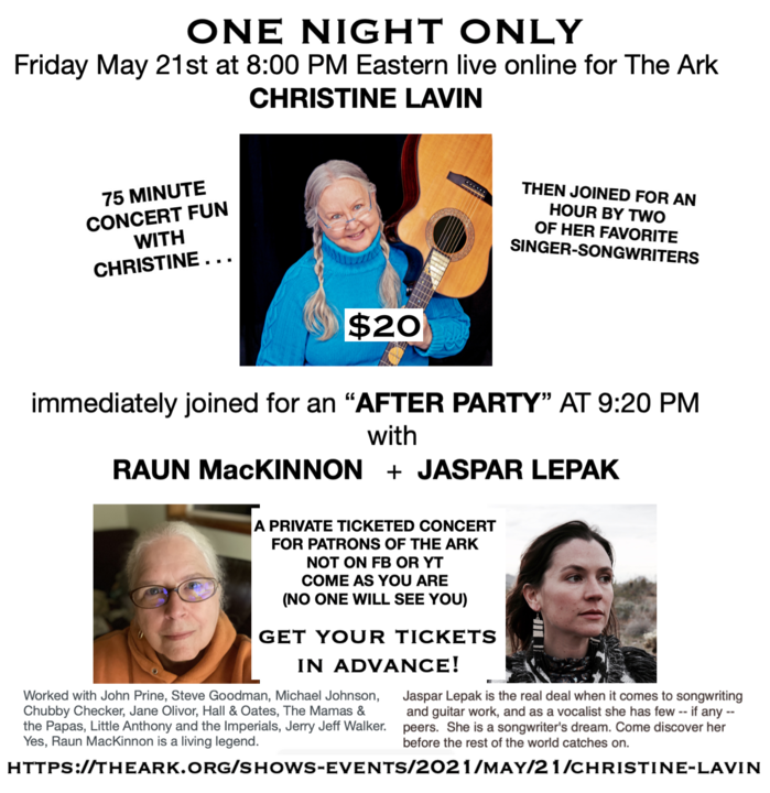 A private concert for The Ark in Ann Arbor with After Party featuring a living legend and a future living legend